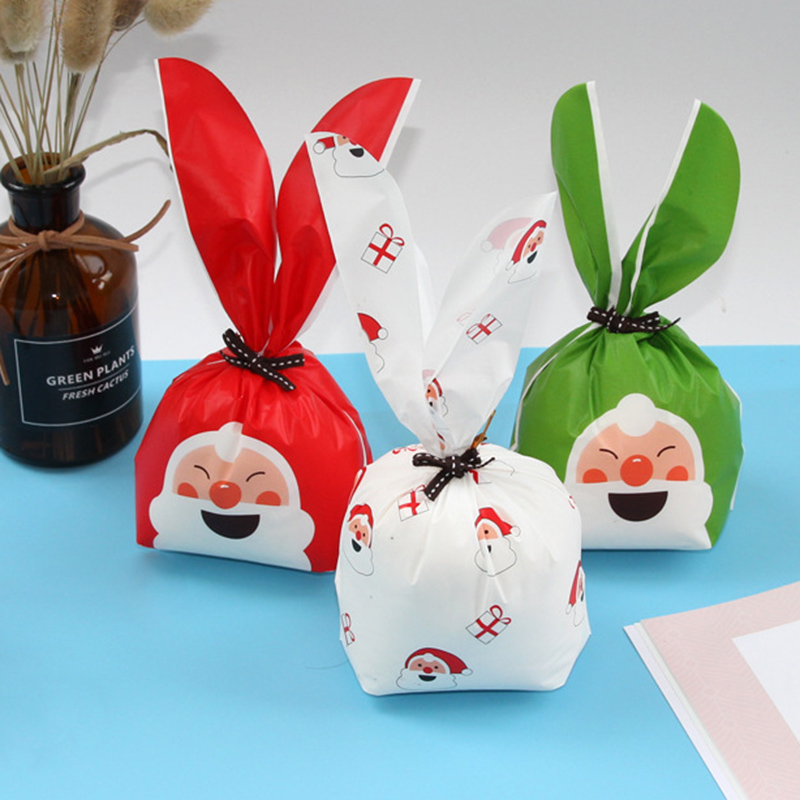 10pcs Merry Christmas Santa Claus Packing Bag Rabbit Ear Sweets Party  Bags Cake Gift Bag Apple Candy Cookie Present Packaging