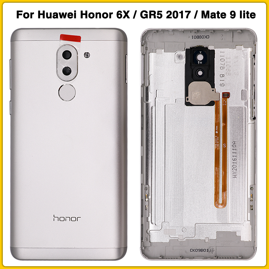 Full Housing Case For Huawei Honor 6X / GR5 2017 / Mate 9 Lite Battery Cover Door Rear Back Cover With Fingerprint Flex Cable