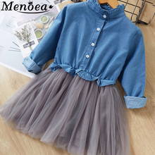 Menoea Long Sleeve Girl Dress 2016 New Autumn Dresses Children Clothing Princess PinkWool Bow Design Girls  Clothes