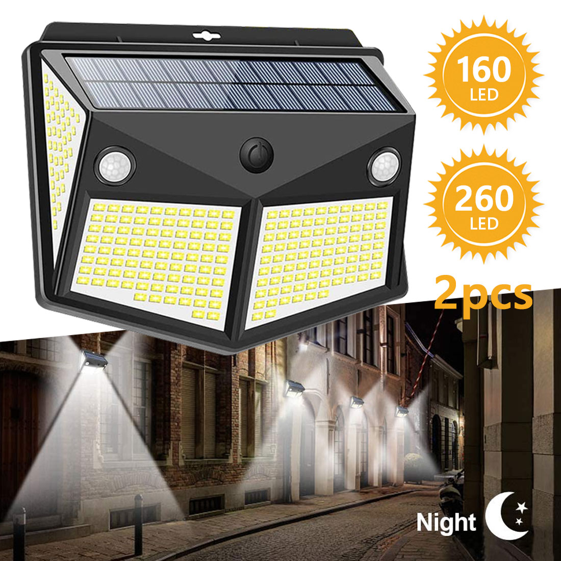 260 LED Solar Light Outdoor Powered Sunlight Lamp Waterproof PIR Motion Sensor Street Spotlight for Garden Decoration 3 Modes