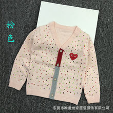 2018 Autumn CHILDREN'S Sweater Girls Embroidered Heart New Style Xie Jin Button Pure Cotton Printed Small Cardigan(China)