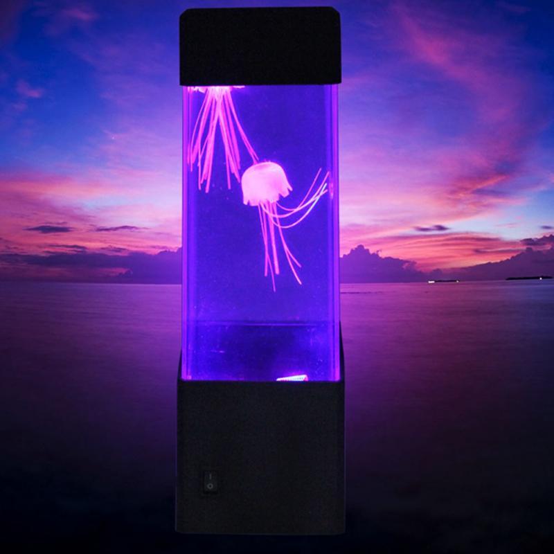 Led  Night Light Jellyfish Tank Aquarium Style LED Lamp Sensory Autism Lava Lamp LED Desk Lamp Fish Colored Jelly Night Light
