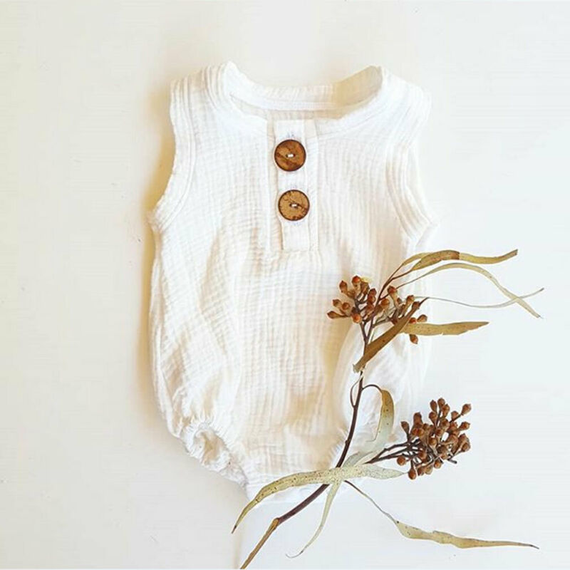 Pudcoco Newborn Baby Girls Boys Clothes Kids Cotton Linen Sleeveless Bodysuit One-Pieces Jumpsuit Summer Outfits 0-2Y