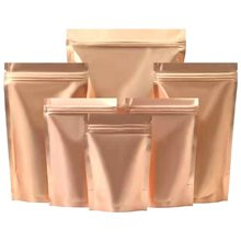 100Pcs/Lot Matte Gold Mylar Foil Zip Lock Stand Up Bag Self Seal Tear Notch Doypack Food Candy Tea Snack Bean Packing Pouches