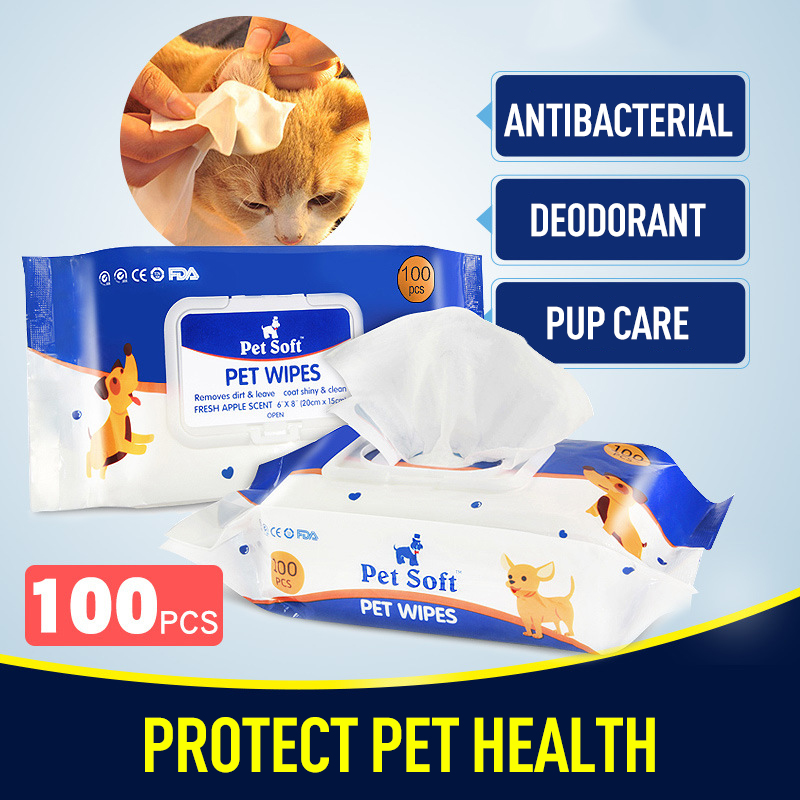 100pc Pet Cleanig Wipes Natural Gentle Disposable Wipes For Removing Eye Stains Odor Pet Disinfection Towel Grooming Supplies