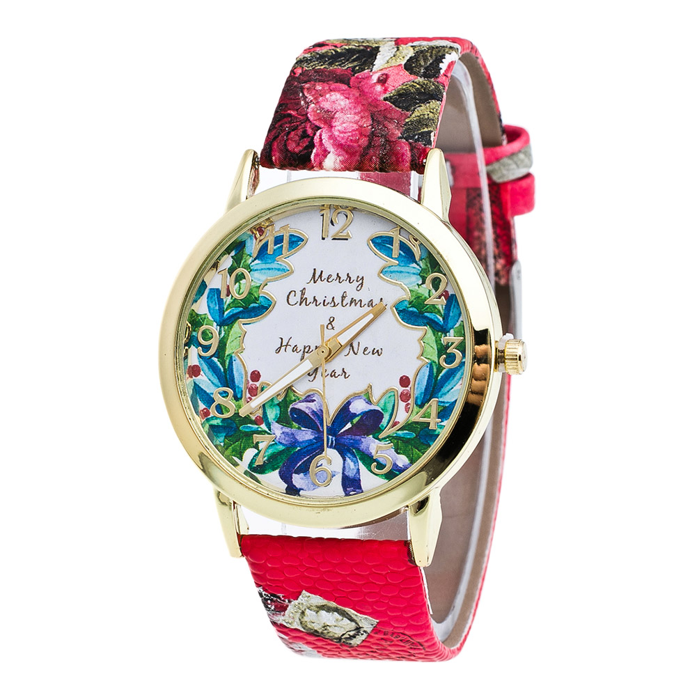 Couple Quartz Watches Flower Plant Printed Round Dial Faux Leather Strap Classic Retro Watches  LL@17