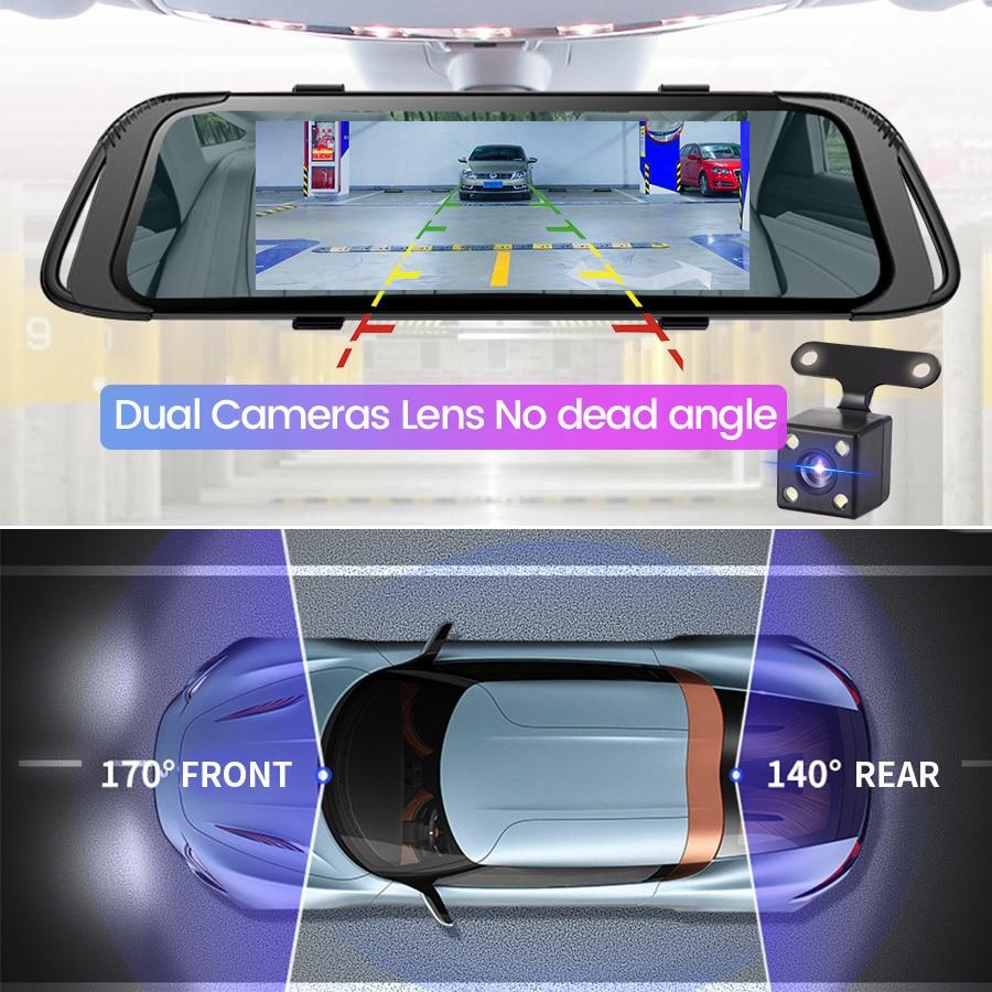 E-ACE 7,0 Zoll Touch Auto DVR Spiegel FHD 1080P Video Recorder Auto Registrator Dash Kamera Dual Objektiv mit Rückansicht Kamera