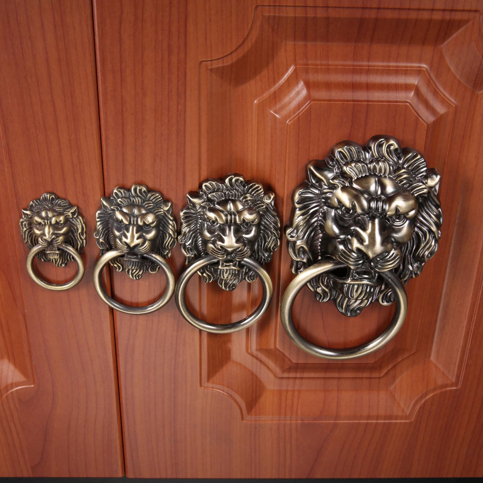 DRELD Vintage Lion Head Cabinet Knobs and Handles Furniture Door Antique Furniture Handles Cabinet Drawer Pull Handle Knob Ring