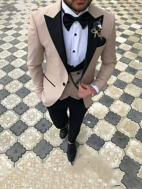 Custom Made Three Pieces Men Suits Slim Fit Groom Tuxedos Best Groomsmen Wedding Suit Men's Suits (jacket+pants+vest)