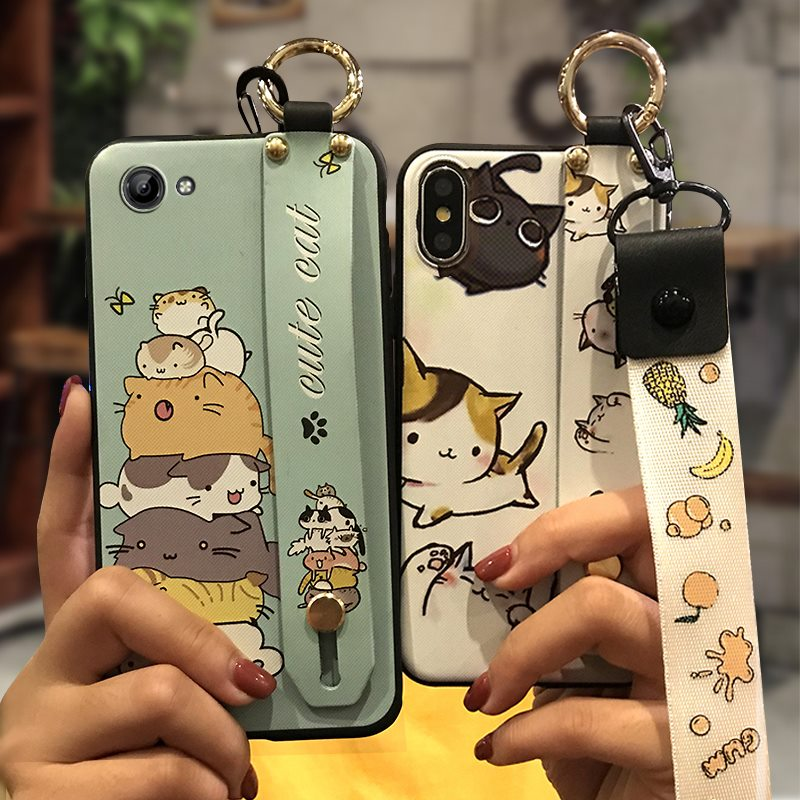 Wrist Strap Cover Phone <font><b>Case</b></font> For <font><b>VIVO</b></font> <font><b>Y71</b></font> Dirt-resistant Silicone Cute Fashion Design Kickstand New image