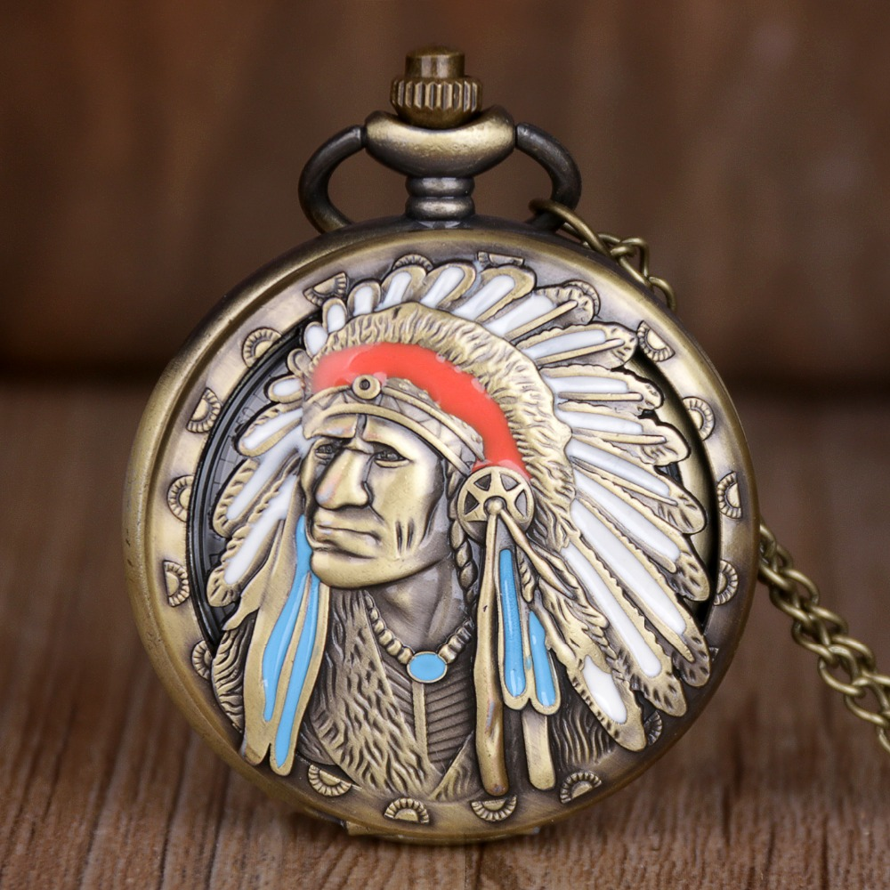 H5834c151a1eb47859a0b9d3a36188a5er - Vintage Bronze Indian Old Man Pattern Quartz Pocket Watches Analog Pendant Necklace Fob Watch Men Women Gifts