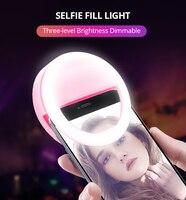 Luz de anel led circular para selfie  luz de anel de flash led portátil para selfie com 36 leds  presilha de anel luminoso para iphone 8  novo  2019 samsung 7 6 plus