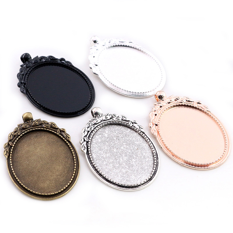 New Fashion 5pcs 30x40mm Inner Size 5 Colors Plated Flowers Style Cabochon Base Setting Charms Pendant