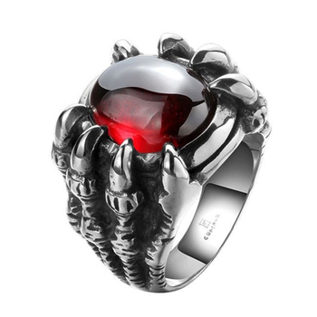 Men Hiphop Ring Retro Titanium Steel Black/Red Stone Rings for Women Men Gothic Fashion Jewelry Size 8-11 anillo hombre 1