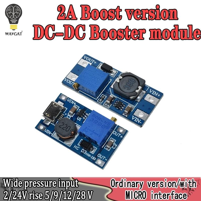 MT3608 2A DC-DC Step Up Converter Booster Power Supply Module MAX Output 2V-24V To 5V 9V 12V 28V For Arduino