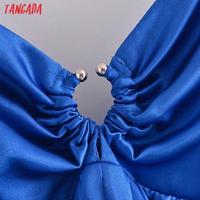Tangada Women's Party Dress Solid Color Long Dress Strap Adjust Sleeveless 2021 Korean Fashion Lady Elegant Dresses QN62 3