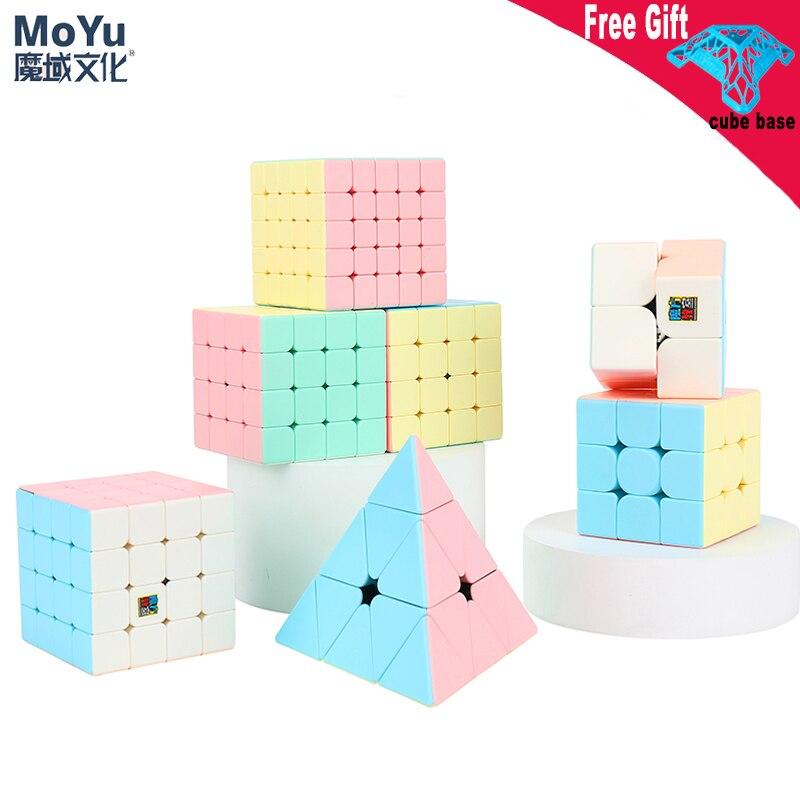Mais novo macarons série cubo mágico 2x2 3x3 4x4 5x5 pyraminxed stickerless 3x3x3 velocidade cubo dos desenhos animados cor puzzle brinquedo para tipos