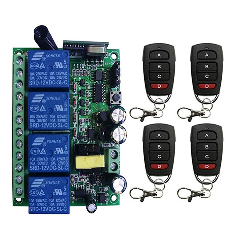 AC110V 220V 230V 10A relais 4CH 4 CH sans fil RF télécommande interrupteur 10A relais sortie Radio récepteur Module + émetteur