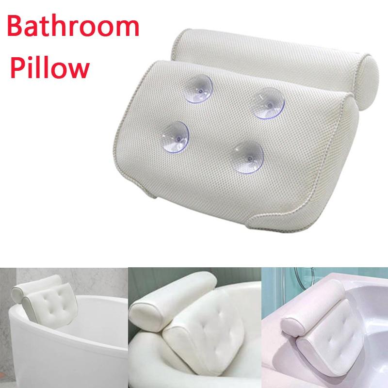 Black Non-slip Cushioned Bath Tub Spa Pillow Suction Cup Great Relaxing Bathtub