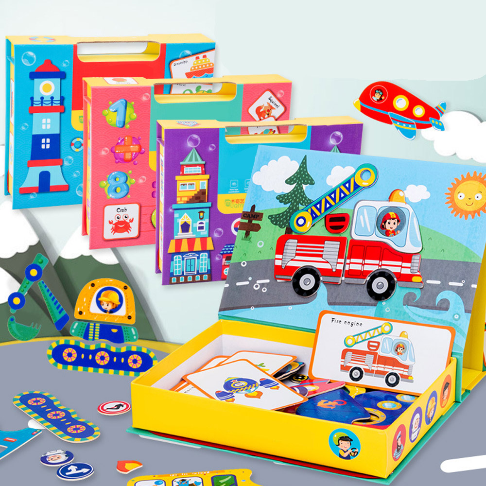 Cartoon Puzzle 3d Traffic Matching Woods Jigsaw Games Toy Early Learning Traffic Puzzles Educational Toys For Childen Kids Gifts