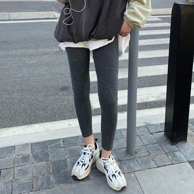 New Pure Color Slim Leggings Women's Cotton Trousers Gray