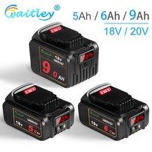 Waitley 18 V 5Ah 6Ah bateria litowa do elektronarzędzi DeWalt DCB184 DCB200 akumulator elektronarzędzie 20V 18 v 18 V 9000mAh