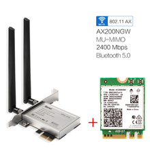 Desktop Wireless Wifi PCI E Adapter AX200 NGFF M.2 Wi Fi Dual Band 2400Mbps Bluetooth 5.1 Card 802.11ac/ax Windows 10