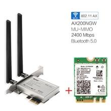 Настольный Беспроводной Wi Fi PCI E адаптер AX200 NGFF M.2 Wi Fi двухдиапазонный 2400 Мбит/с Bluetooth 5,1 карта 802.11ac/ax Windows 10