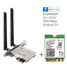 เดสก์ท็อปไร้สายWifi PCI Eอะแดปเตอร์AX200 NGFF M.2 Wi Fi Dual Band 2400Mbpsการ์ดบลูทูธ5.1 802.11ac/Ax Windows 10
