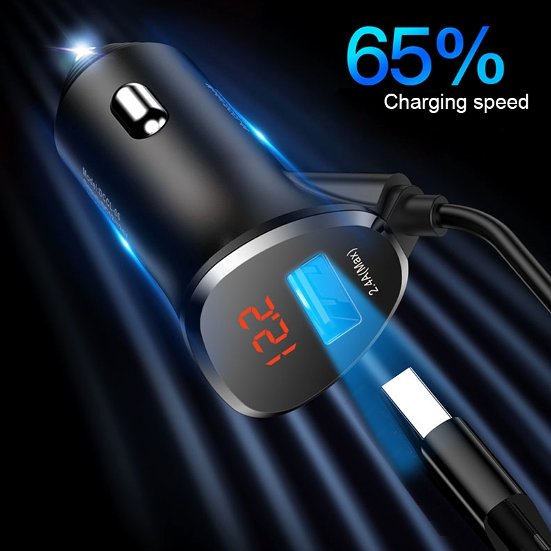 Image 2 - TOTU 3 in 1 Phone USB Charging Cable Mini Dual USB Car Charger For mobile phoneCar Chargers   -