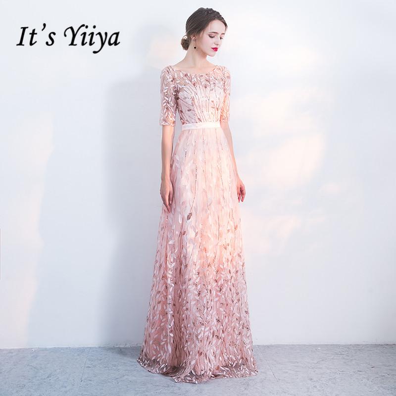It's Yiiya Evening Dress Elegant Embroidery Evening Dresses O neck Plus Size Formal Gowns Long Half Sleeve robe de soiree LF176