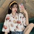 XEJ Kawaii рубашка с принтом авокадо блузки и рубашки в японском стиле женская футболка шифоновая блузка для женщин Летняя туника