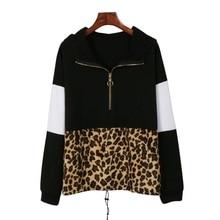 Women Long Sleeves Sweatshirt Women Pullovers Leopard Stitching Harajuku Print Tops O-neck Women's Hooded sweatshirt Tops