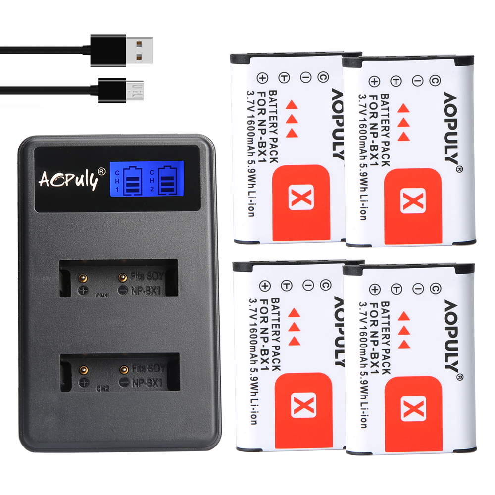4pcs NP-BX1 NP Bateria + Carregador para Sony Cyber shot-RX1 BX1 RX100 RX100 IV WX300 H400 HX300, HDR-AS10 AS200VR CX240 PJ275 PJ440