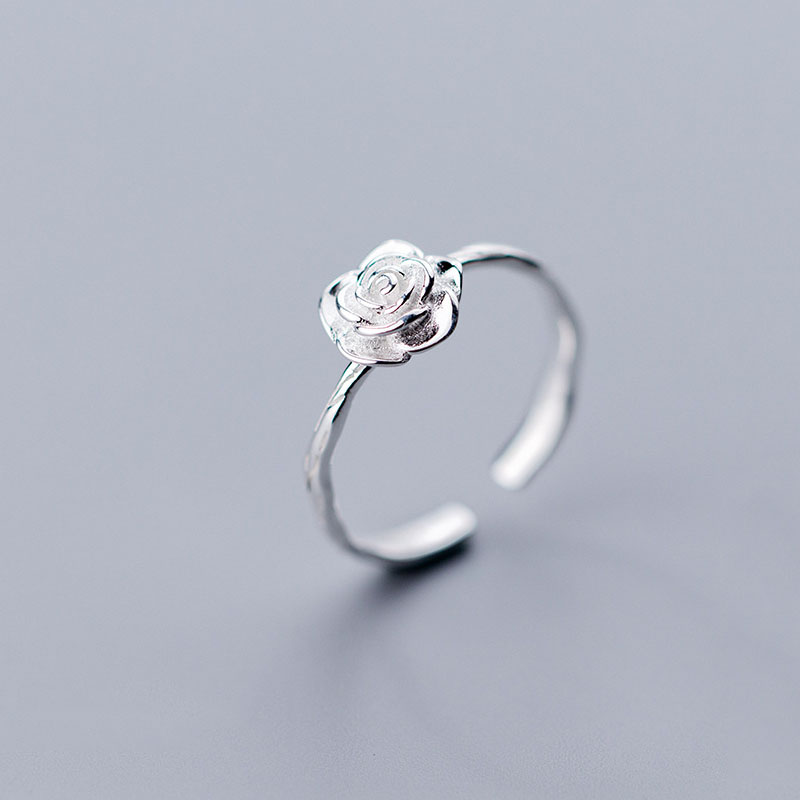Real 925 Sterling Silver Flower Opening Ring For Elegant Women Romantic Wedding Plant Ring Punk Fine Jewelry Accessories