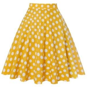 Желтая Женская повседневная юбка в горошек, 50s, 60s, хлопковая короткая юбка большого размера с высокой талией, юбка-пачка на рокабилли, jupe femme