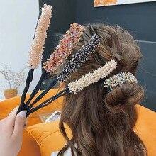 1 шт. женский цветочный пончик для пучка, инструмент для укладки волос с кристаллами, инструмент «сделай сам», корейская мода, бигуди для вол...