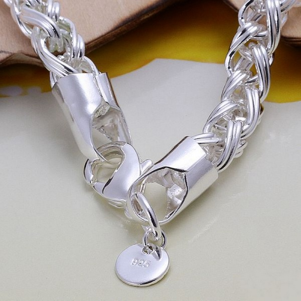 Creative twist circle chain women men silver color bracelets new high -quality fashion jewelry Christmas gifts H070 1