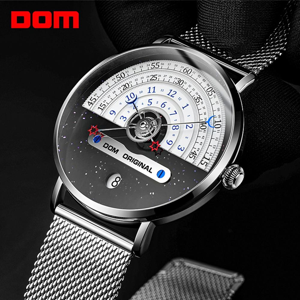 DOM Men's Watch 30m Waterproof Top Brand Luxury Big Dial Creative Quartz Watch Men Silver Mesh Belt Wristwatch M-1288D-7M