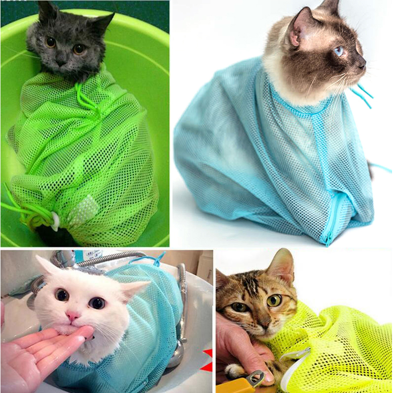 Pet Cat Grooming Restraint Mesh Bag Bath Washing Nails Cutting Cleaning Bags US