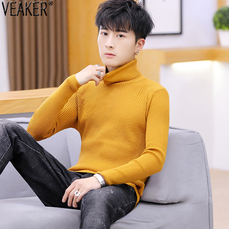 2019 Autumn New Men's Striped Turtleneck Sweater Pullover Male Solid Color Red Yellow White Black Slim Fit Knitted Sweaters