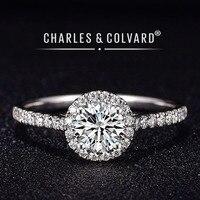 Moissanite Engagement Rings For Women 18K White Gold Colorless VVS Hearts Arrows Charles Colvard Forever One Moissanite Ring