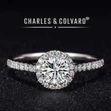 Moissanite anéis de noivado para mulheres, 18k branco ouro colorido vvs hearts setws charles colvard para sempre um anel de moissanite