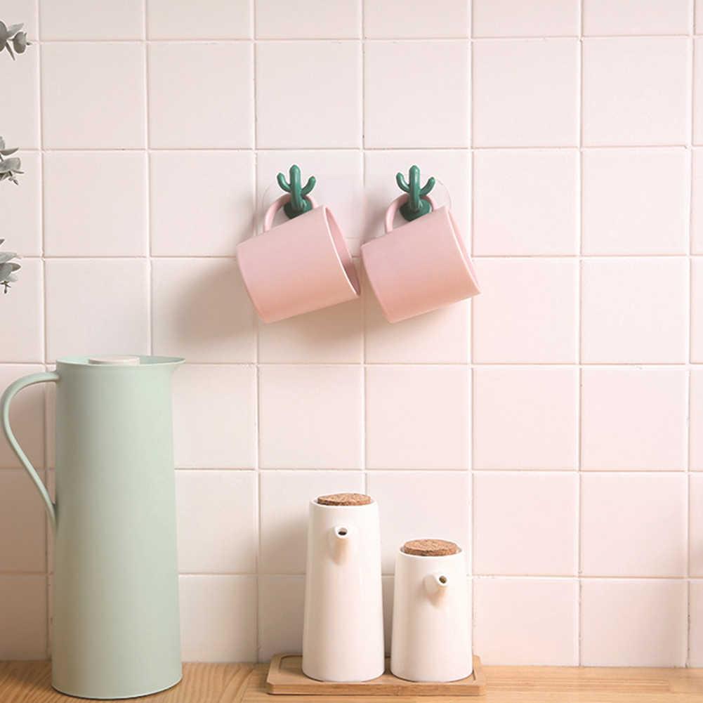 新 2 個サボテン形状服ハンガー粘着台所の壁のドアキーホルダーフック浴室収納棚