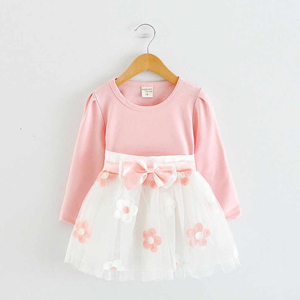 Fashion Toddler Kids Baby Dress Girls Long Sleeve Tulle Patchwork Flower Bow Dresses Cotton O-neck Clothes Vestidos Bebe Verano