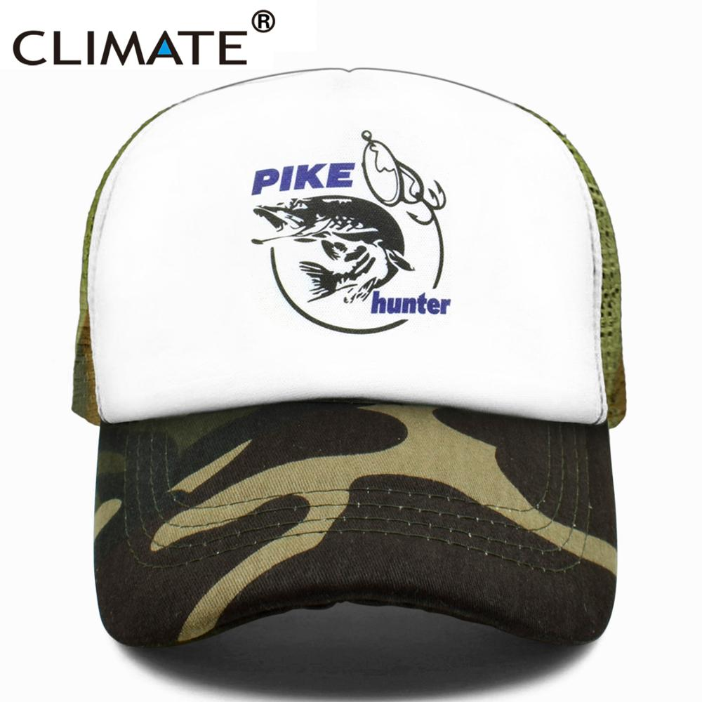 CLIMATE Pike Fish Hunter Trucker   Cap   Pike Fishing   Caps   Men Camouflage Fishing Hat   Baseball     Cap   Cat Summer Cool Mesh   Caps   Men