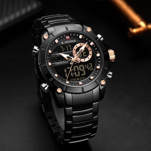 Купить мужские спортивные водонепроницаемые кварцевые часы с двойным картинки цена