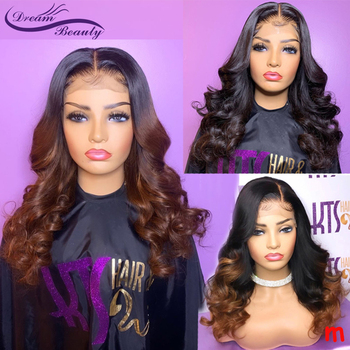 Ombre Brown Lace Front Human Hair Wigs 180% Brazilian Wavy Remy Hair 13*4 Lace Wigs Ombre Blonde PrePlucked Wig Dream Beauty