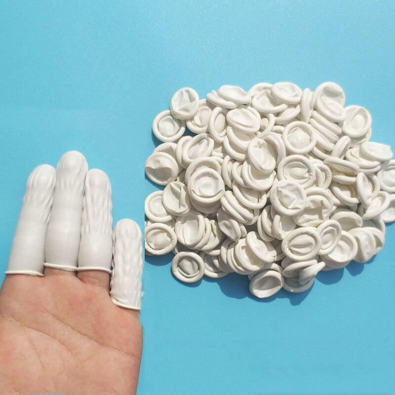 100pcs Natural Rubber Gloves Finger Cots Latex Fingertip Protective Disposable  Gloves