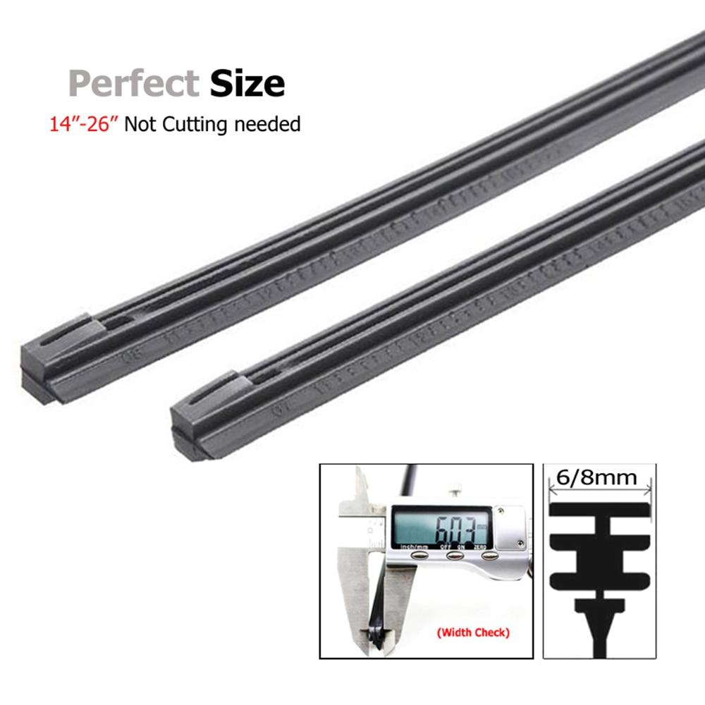 "2pc Mount Front Windshield Wiper Blade Rubber Insert Refill Strips 6mm 24/"""